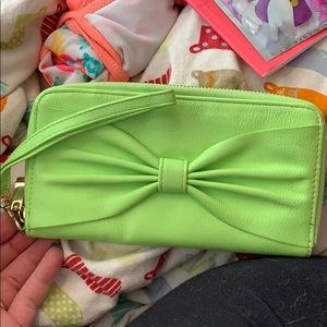 Target Neon Green Bow wristlet